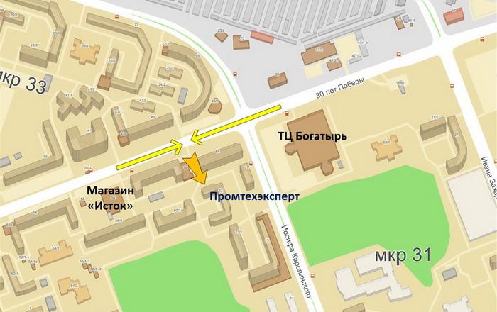 на карте Сургута